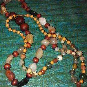 Polished Semi-Precious Stone & Wood Bead Necklace